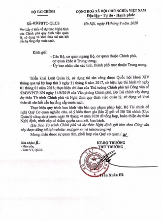 Công văn 11313/BTC-QLCS ngày 17/09/2020: Lấy ý kiến về dự thảo Nghị định của Chính phủ quy định việc quản lý, sử dụng và khai thác tài sản
