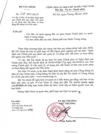 Công văn số 238/BTC-QLCS ngày 08/01/2021: Lấy ý kiến về dự thảo Nghị định của Chính phủ quy định việc QLSD nhà, đất phục vụ hoạt động đối ngoại