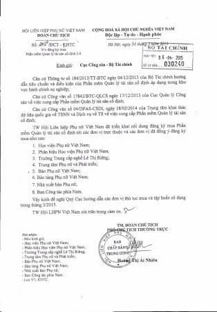 Công văn số 248/ĐTC-KHTC ngày 31/03/2015 của Hội Liên hiệp phụ nữ Việt Nam về việc đăng ký mua Phần mềm Quản lý tài sản cố định
