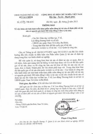 Công văn số 1373/TB-STC ngày 30/03/2015 của Sở Tài chính TP Hà Nội về việc khảo sát tình hình triển khai phần mềm đăng ký tài sản cố định